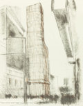 Fine Art - Work on Paper:Print, JAVACHEFF CHRISTO (American/Bulgarian, b. 1935). Allied Chemical Tower Packed, Project for Times Square, New York, 1971...