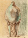 Latin American:Contemporary, FRANCISCO ZÚÑIGA (Mexican, 1912-1998). Madre y nino, 1966.Crayon on paper. 26 x 19-1/2 inches (66.0 x 49.5 cm). Signed ...
