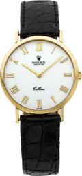 Timepieces:Wristwatch, Rolex Ref. 4112 Gent's Gold Cellini With Enamel Dial, circa 1995. ...