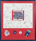 Football Collectibles:Others, 1986 New York Giants Super Bowl XXI Multi Signed Display....