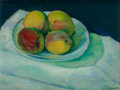 Paintings, CHARLES SHEELER (American, 1883-1965). Peaches in a White Bowl, 1910. Oil on canvas. 10-1/2 x 13-3/4 inches (26.7 x 34.9...