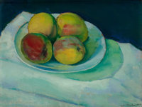 CHARLES SHEELER (American, 1883-1965) Peaches in a White bowl, 1910 Oil on canvas 10-1/2 x 13-3/4