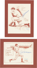 Autographs:Others, 1988 Joe DiMaggio & Willie Mays Signed Bill Gallo Prints Lot of3....