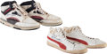 Basketball Collectibles:Others, 1980's Hakeem Olajuwon & Ralph Sampson The Twin Towers GameWorn Shoes. ...