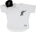 Baseball Collectibles:Uniforms, 2003-04 Lenny Harris Game Worn Florida Marlins Jersey & Cap. ...