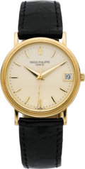 Timepieces:Wristwatch, Patek Philippe Ref. 3802 Very Fine Gold Automatic With Date, circa 1987. ...