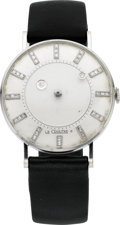 Timepieces:Wristwatch, LeCoultre & Vacheron Constantin White Gold Mystery Watch, circa 1955. ...
