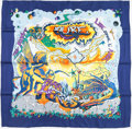 "Luxury Accessories:Accessories, Hermes 90cm Blue ""Aube,"" by Zoe Pauwels Silk Scarf. ..."