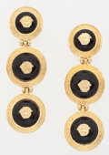 Luxury Accessories:Accessories, Versace Black Enamel & Gold Clip-on Earrings. ...