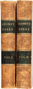 Books:Biography & Memoir, Arthur Murphy. The Works of Samuel Johnson...New York:Harper's, 1846. Two volumes. Text in double columns. Contempo...(Total: 2 Items)