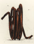 Post-War & Contemporary:Contemporary, BERNAR VENET (French, b. 1941). Two Undetermined Lines,1990. Oilstick over silkscreen on paper. 54 x 41 inches (137.2 x...