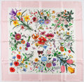 Luxury Accessories:Accessories, Gucci Pink & White Floral Silk Scarf. ...