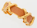 "Luxury Accessories:Accessories, Hermes Rosy Orange Lizard Gold Cuff Bracelet . 2"" Width x 2""Height . Very Good to Excellent Condition. ..."