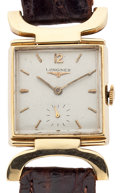 Timepieces:Wristwatch, Longines 14k Gold Manual Wind Wristwatch With Unusual Lugs. ...