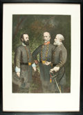 "Books:Prints & Leaves, [Civil War] Modern Print of ""Stonewall"" Jackson, Joseph E. Johnstonand Robert E. Lee. No date. Framed to an overall size of..."