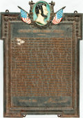 Books:Furniture & Accessories, [Featured Lot] Ceremonial Plaque Commemorating Abraham Lincoln'sGettysburg Address. No date. Solid iron, with a lovely pati...