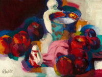 STANTON MACDONALD-WRIGHT (American, 1890-1973) Still Life of Vase and Fruit (Reflections in Red), </