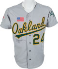 Baseball Collectibles:Uniforms, 1990 Rickey Henderson World Series Game Worn Jersey, MEARS A10....
