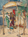 Fine Art - Painting, American:Contemporary   (1950 to present)  , BENNY ANDREWS (American, 1930-2006). Lady and Doorman. Oilon board. 20 x 15 inches (50.8 x 38.1 cm). Signed lower right...
