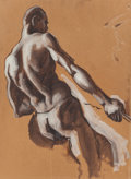 "Fine Art - Work on Paper:Watercolor, THOMAS HART BENTON (American, 1889-1975). Black Man Pulling(Preparatory Study for ""Over the Mountains,"" ThirdCha..."