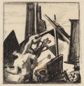 Fine Art - Work on Paper:Drawing, THOMAS HART BENTON (American, 1889-1975). Construction Workerson Building (Study for Excavation), circa 1927. Crayon on...