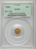California Fractional Gold: , 1864 25C Liberty Octagonal 25 Cents, BG-735, R.4, AU58 PCGS. PCGSPopulation (14/48). NGC Census: (2/9). ...