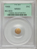 California Fractional Gold: , 1865 25C Liberty Round 25 Cents, BG-803, High R.5, MS63 PCGS. PCGSPopulation (9/6). NGC Census: (0/2). ...