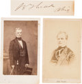 "Photography:CDVs, Ohio Senator Benjamin Franklin ""Bluff"" Wade Two Cartes de Visite and Clipped Signature.... (Total: 3 )"