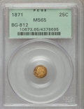 California Fractional Gold: , 1871 25C Liberty Round 25 Cents, BG-812, Low R.5, MS65 PCGS. PCGSPopulation (10/2). NGC Census: (3/1). ...