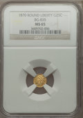 California Fractional Gold , 1870 25C Liberty Round 25 Cents, BG-835, R.3, MS65 NGC....