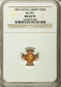 California Fractional Gold , 1859 50C Liberty Octagonal 50 Cents, BG-901, High R.6, MS65Prooflike NGC....