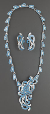 A MARGOT DE TAXCO MEXICAN SILVER AND ENAMEL PENDANT BROOCH NECKLACE AND PAIR OF EARRINGS, Taxco, Mexico, circa 1950