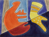 KATHLEEN BLACKSHEAR (1897-1988) Untitled Abstraction, 1940s Watercolor and ink 10.5in. x 14in. Estate stamp/inventory nu...