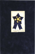"Military & Patriotic:Civil War, Confederate Surgeon General of South Carolina Secession Badge, 2"" x 3.25"", mounted to a period card, 2.5"" x 4"", upon which i..."