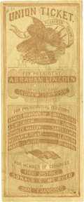 "Military & Patriotic:Civil War, 1864 Abraham Lincoln Ballot Featuring the U.S.S. Kearsarge Sinking the C.S.S. Alabama on the face, 3"" x 7.25"", C..."