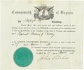 Military & Patriotic:Civil War, Fitzhugh Lee's Commission as a Confederate Lieutenant Colonel - Signed by Virginia Governor John Letcher. Partially printed ...