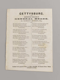 """""""Gettysburg"""" Song Sheet, published by Lee & Walker, Philadelphia. This war date song was penned by one Rob..."""