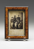 """Photography:Cabinet Photos, 38th Massachusetts Infantry Image. Framed albumen print, 3"""" x4.25"""", on inscribed mount, 6"""" x 8"""" overall, showing five confi..."""