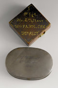 Military & Patriotic:Civil War, Civil War Engraved Snuffbox and Compass. This unique grouping features two items from soldiers in the Union army during the ...