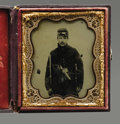 Photography:Ambrotypes, Triple-armed 1/6th Plate Ambrotype of Pennsylvania Cavalryman. Weapons, an identified soldier and nice condition make this a...