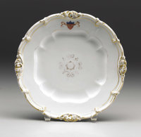 """Abraham Lincoln's White House Dinner Plate from President James K. Polk's Service (10""""), accompanied by a letter st..."""