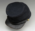 """Military & Patriotic:Civil War, Union Enlisted Mans """"Bummers Cap"""" with all-original sweatband, lining, chinstrap, visor, & U.S. eagle side buttons. This was..."""