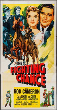 "The Fighting Chance and Other Lot (Republic, 1955). Three Sheet (41"" X 80"") and One Sheet (27"" X 41""..."