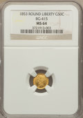 California Fractional Gold , 1853 50C Liberty Round 50 Cents, BG-415, Low R.5, MS64 NGC....