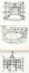 """Books:Original Art, [Original Art]. Arno Sternglass. Group of Three Original Drawings of Theater Stages for """"The Theater Breaks Out..."""" Article. ..."""