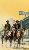 Illustration:Books, GEORGE GROSS (American, 1909-2003). Two Men on Horseback,probable book cover. Oil on board. 21-3/8 x 15 inches (54.3 x ...(Total: 2 Items)