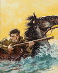 Illustration:Books, TOM RYAN (American, 1922-2011). Rider and Horse in RagingRiver, probable book cover. Oil on board. 24-1/4 x 19 inches(...