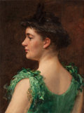Fine Art - Painting, American:Antique  (Pre 1900), JAMES CARROLL BECKWITH (American, 1852-1917). The GreenDress. Oil on canvas. 24-1/8 x 18-1/8 inches (61.3 x 46.0 cm).S...