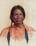 Works on Paper, BERT GEER PHILLIPS (American, 1868-1956). Indian Squaw. Oil on paper laid on board. 14 x 10 inches (35.6 x 25.4 cm) (she...