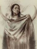 Fine Art - Work on Paper:Drawing, WILLIAM WHITAKER (American, b. 1943). Fort Duchesne Ute Indian, 1974. Pastel and Conté crayon on board. 40 x 30 inches (...